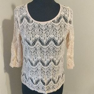 Forever 21 Large Pink Lace See Through Blouse